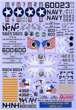 Authentic Decals 1/72 Modern US NAVY E-2C Hawkeye/Hawkeye 2000, Pacific Fleet # 72-30