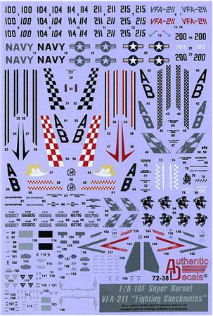 "Authentic Decals 1/72 Modern US NAVY F/A-18F Super Hornet VFA-211 ""Fighting Checkmates"" # 72-38"