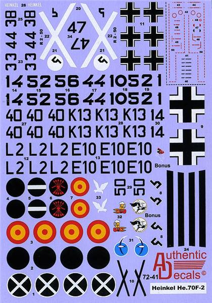 Authentic Decals 1/72 WWII Luftwaffe Heinkel He 70F-2 # 72-41