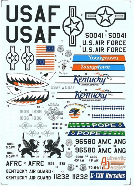 Authentic Decals 1/72  C-130 Hercules USAF, ANG # 72-51