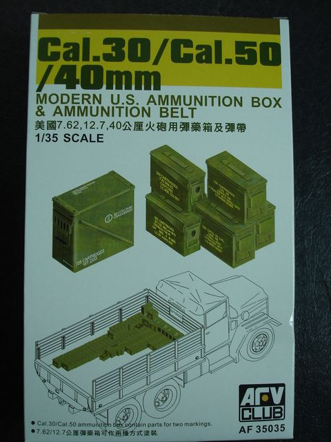 AFV Club 1/35 Cal.30/Cal.50/40mm Modern U.S. Ammunition Box & Ammunition Belt # AF 35035