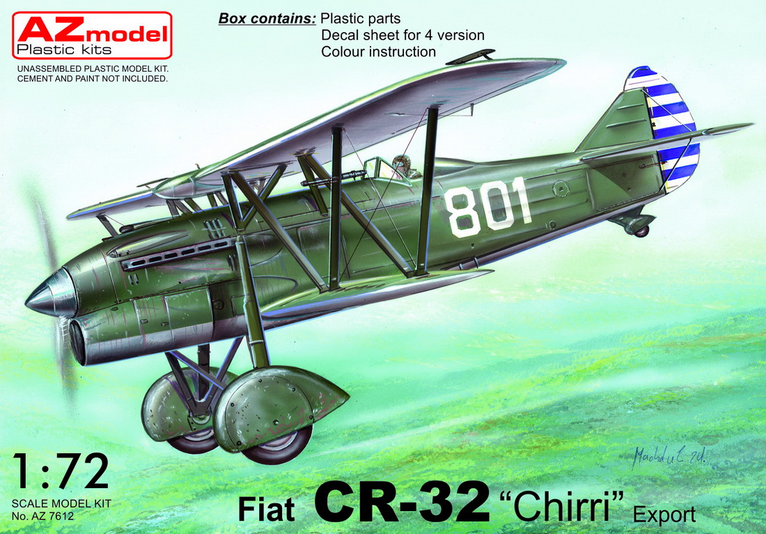 AZ Model 1\72 Fiat CR-32bis 'Chirri' Export decals for Austria x 2 and China # 7612