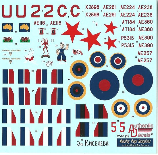 Authentic Decals 1/72 Handley Page Hampdens In the Allied Air Forces # 72-63