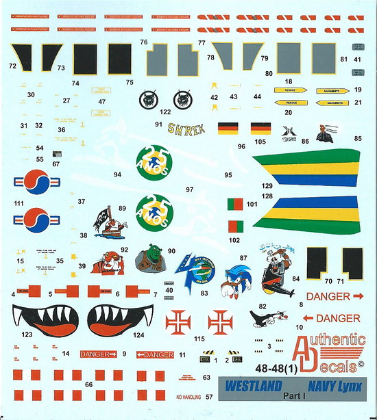 Authentic Decals 1/48 Westland Lynx Navy Versions, pt. I # 48-48