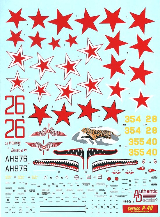 Authentic Decals 1/48 Curtiss P-40 In the Russian Sky # 48-60
