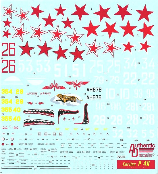 Authentic Decals 1/72 Curtiss P-40 In the Russian Sky # 72-60