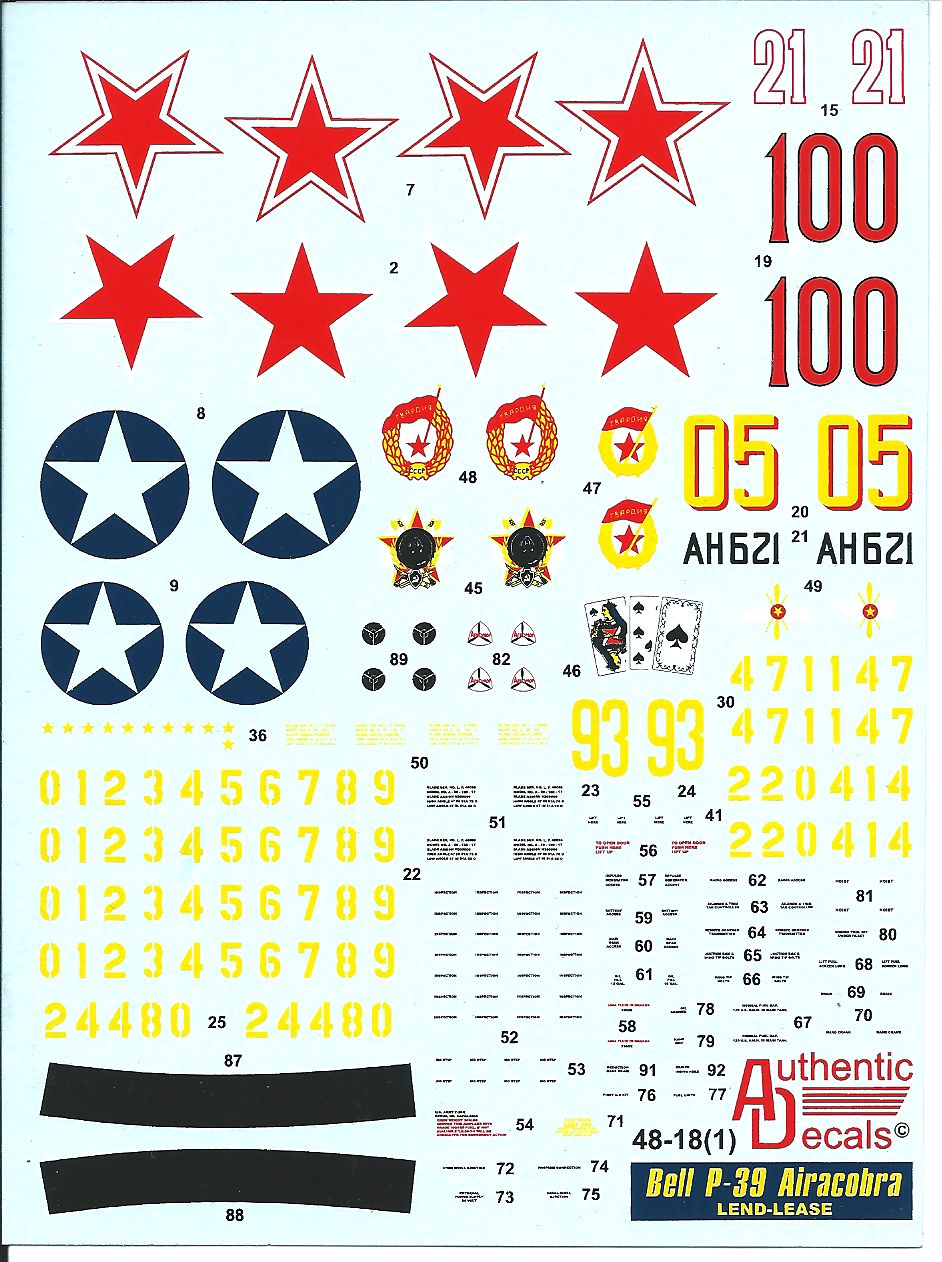 Authentic Decals 1/48 Bell P-39 Airacobra LEND-LEASE # 48-18