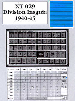 Eduard 1/35 Wehrmact Divisional Markings 1940-45 paint mask # XT029