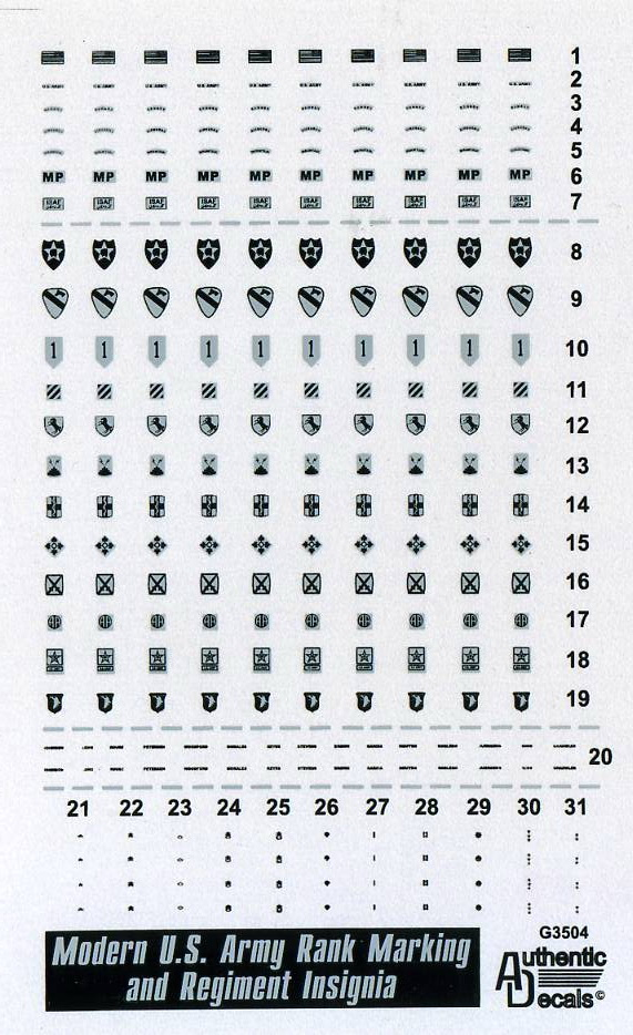 Authentic Decals 1/35 Modern US Army Rank Marking and Regiment Insignia # 3504