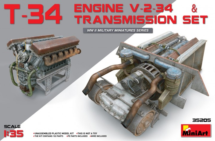 MiniArt 1/35 T-34 Engine V-2-34 & Transmission Set # 35205