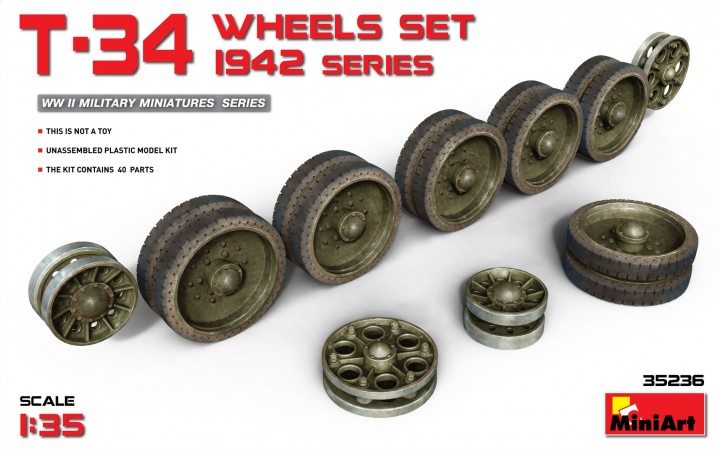 MiniArt 1/35 T-34 Wheels Set 1942 Series # 35236