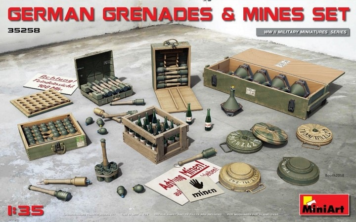 MiniArt 1/35 German Grenades & Mines Set # 35258