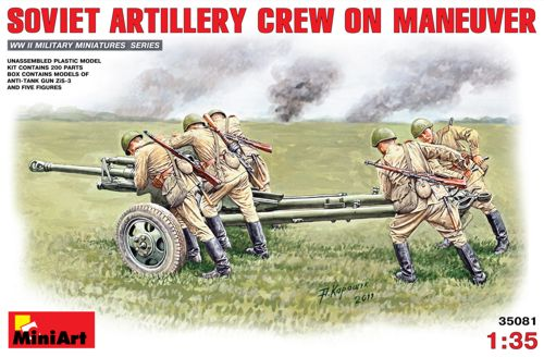 MiniArt 1/35 Soviet Artillery Crew on Manoeuver # 35081